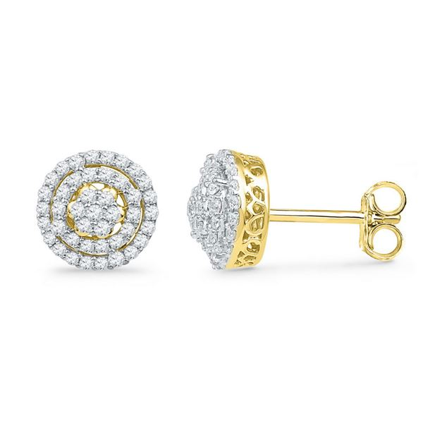 Round Diamond Concentric Cluster Earrings 1/2 Cttw 10KT Yellow Gold