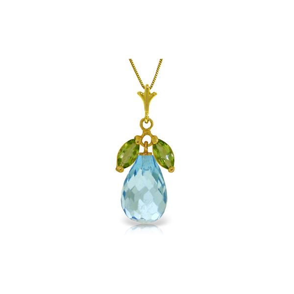 Genuine 7.2 ctw Blue Topaz & Peridot Necklace 14KT Yellow Gold - REF-30P5H