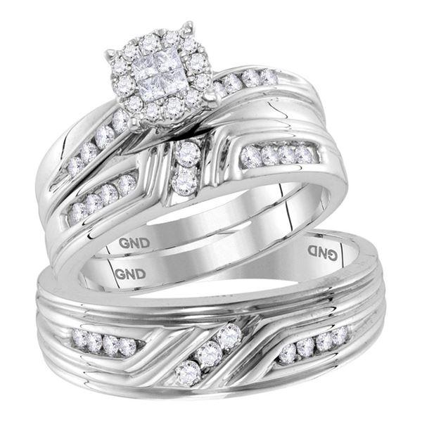 Cluster Matching Wedding Set 5/8 Cttw 14KT White Gold