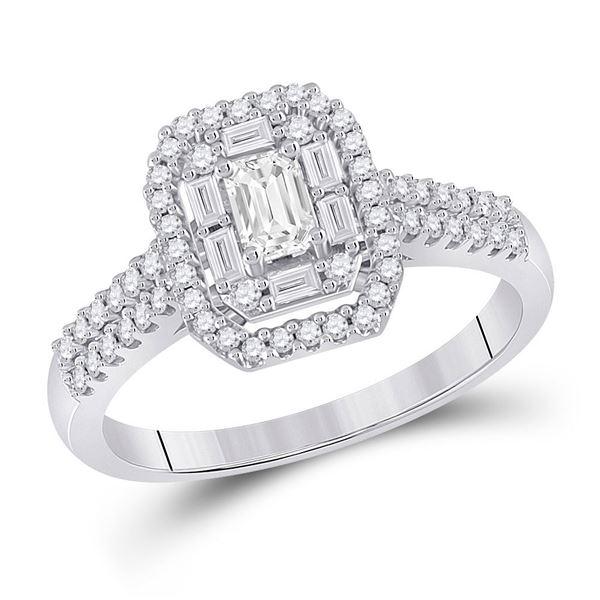 Halo Bridal Wedding Engagement Ring 5/8 Cttw 14KT White Gold