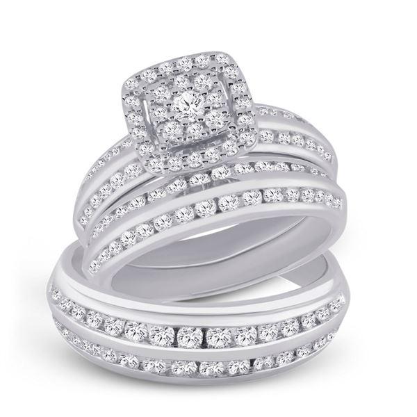 Diamond Cluster Matching Wedding Set 2 Cttw 14KT White Gold