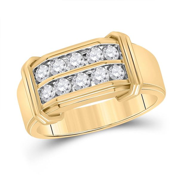 Round Diamond Double Row Band Ring 7/8 Cttw 10KT Yellow Gold