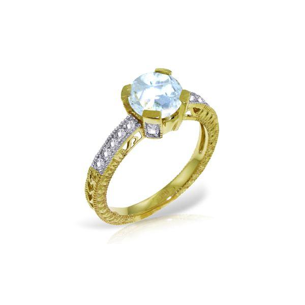 Genuine 1.80 ctw Aquamarine & Diamond Ring 14KT Yellow Gold - REF-102N4R