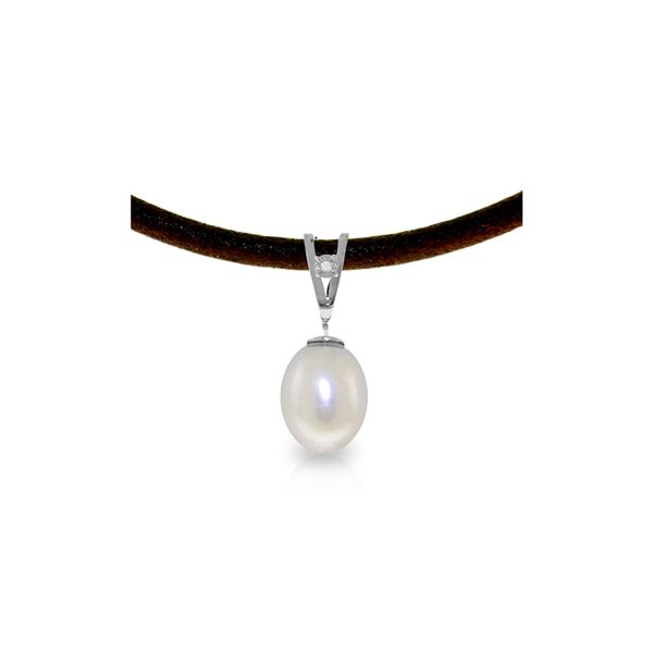 Genuine 4.01 ctw Pearl & Diamond Necklace 14KT White Gold - REF-23A6K