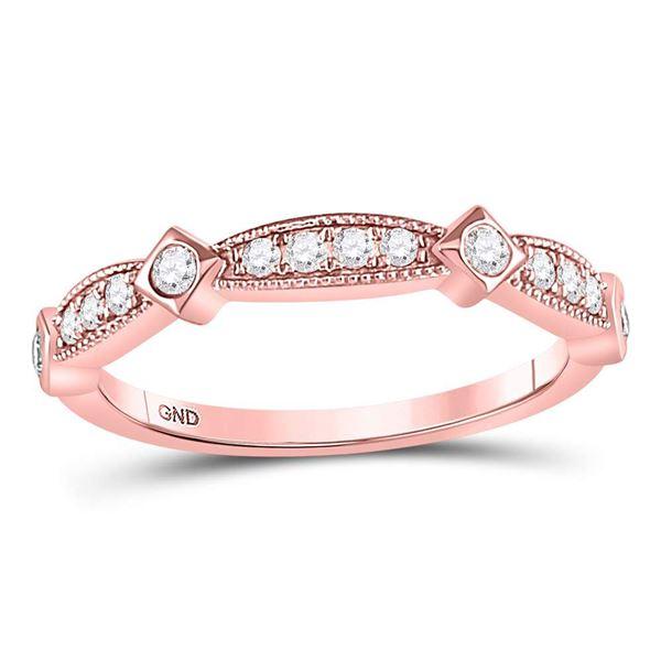 Round Diamond Milgrain Band Ring 1/4 Cttw 10KT Rose Gold