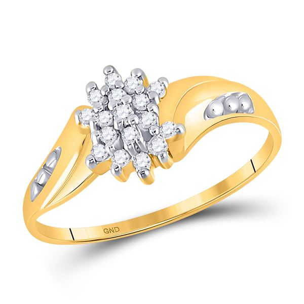 Round Diamond Cluster Ring 1/8 Cttw 10KT Yellow Gold