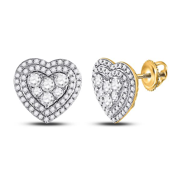 Round Diamond Heart Cluster Earrings 1 Cttw 14KT Yellow Gold