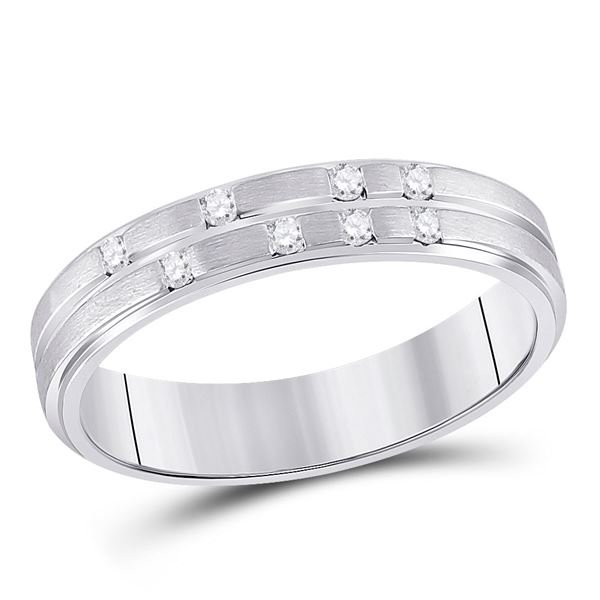 Round Diamond Scattered Band Ring 1/10 Cttw 14KT White Gold