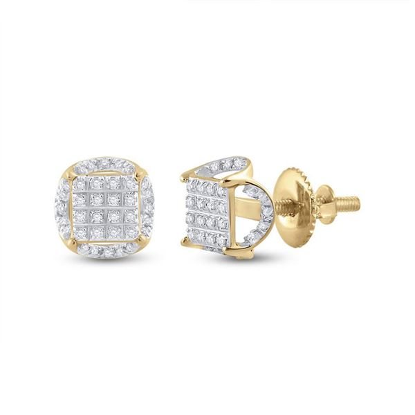 Round Diamond Circle Cluster Earrings 1/5 Cttw 10KT Yellow Gold