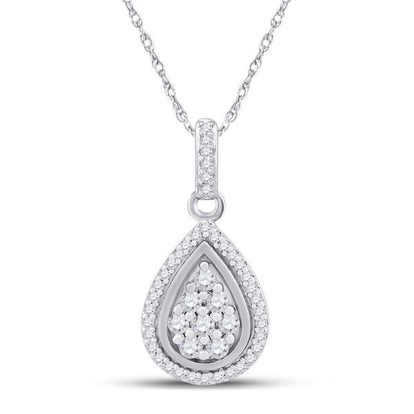 Round Diamond Teardrop Pendant 1/4 Cttw 10KT White Gold