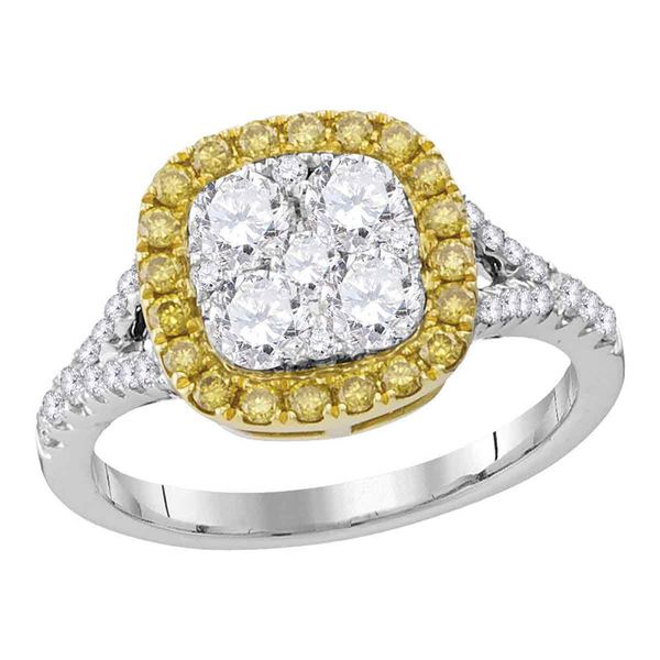Round Yellow Diamond Square Cluster Ring 1-1/3 Cttw 18KT White Gold