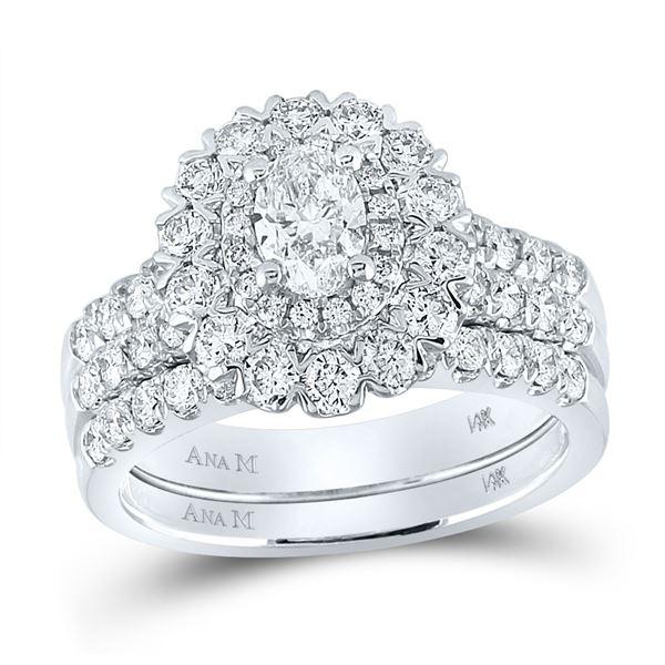 Bridal Wedding Ring Band Set 1-7/8 Cttw 14KT White Gold