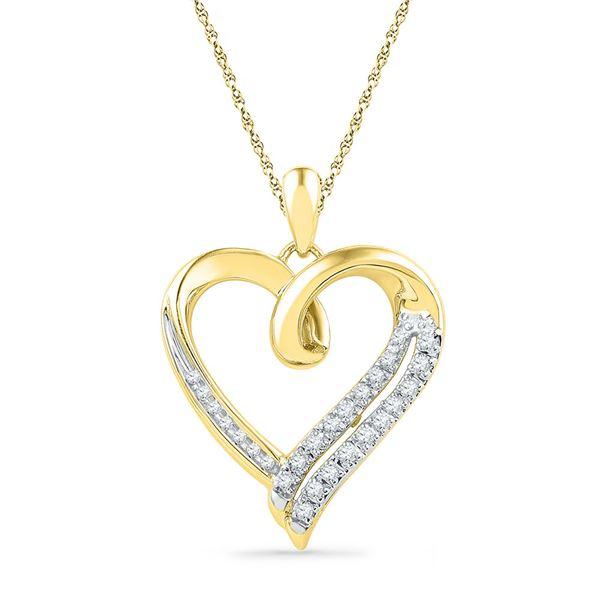 Round Diamond Heart Outline Pendant 1/10 Cttw 10KT Yellow Gold