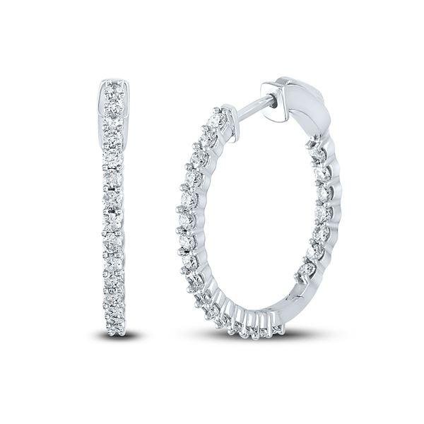 Round Diamond Single Row Hoop Earrings 1-1/2 Cttw 10KT White Gold