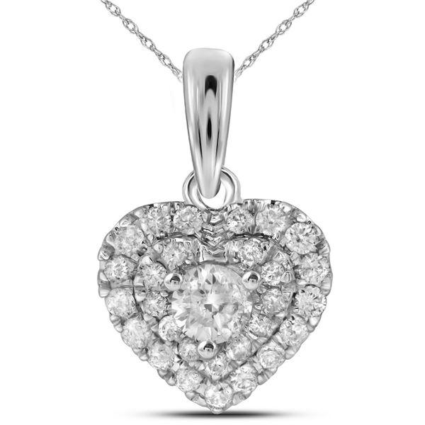 Round Diamond Fashion Heart Pendant 1/3 Cttw 14KT White Gold