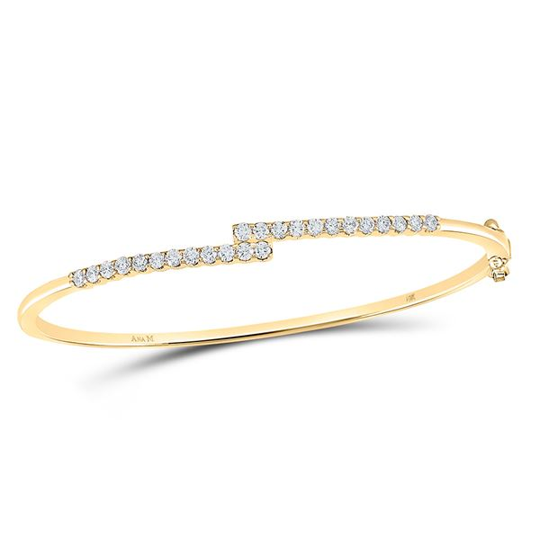 Round Diamond Bypass Bangle Bracelet 1 Cttw 14KT Yellow Gold
