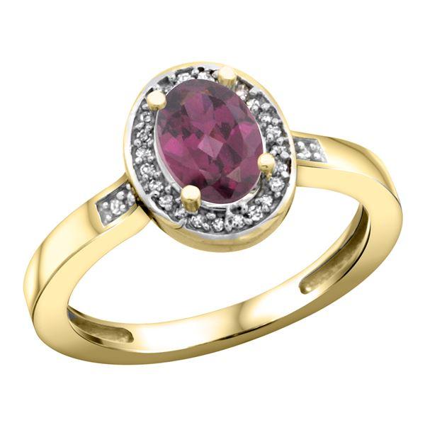 1.15 CTW Rhodolite & Diamond Ring 14K Yellow Gold - REF-38W4F