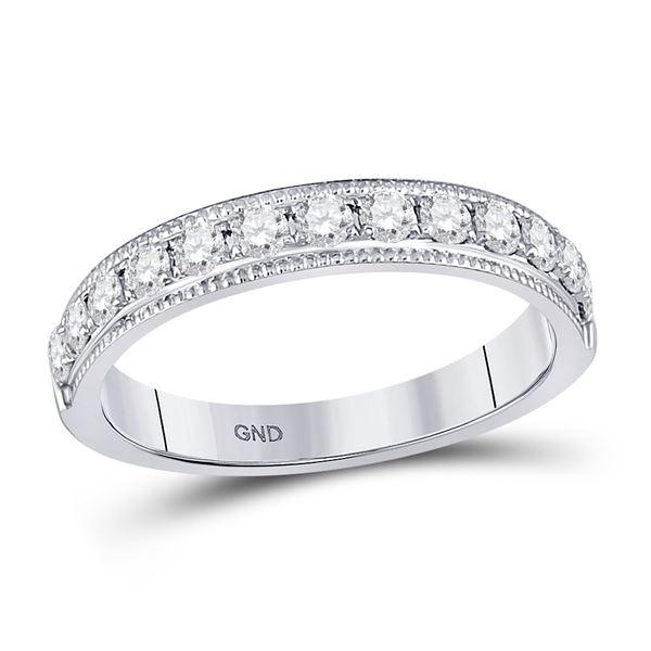 Round Diamond Single Row Band Ring 1/2 Cttw 14KT White Gold