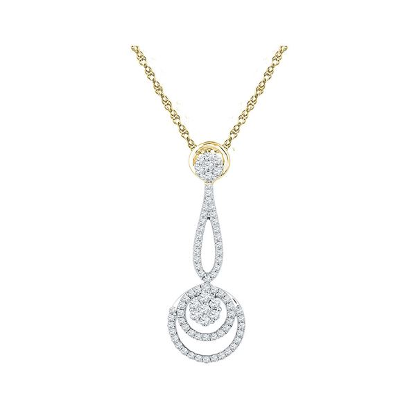 Round Diamond Dangling Cluster Pendant 3/4 Cttw 10KT Yellow Gold