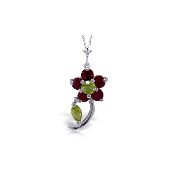 Genuine 0.87 ctw Peridot & Ruby Necklace 14KT White Gold - REF-26P9H
