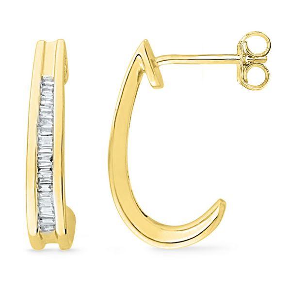 Baguette Diamond Half J Hoop Earrings 1/6 Cttw 10KT Yellow Gold