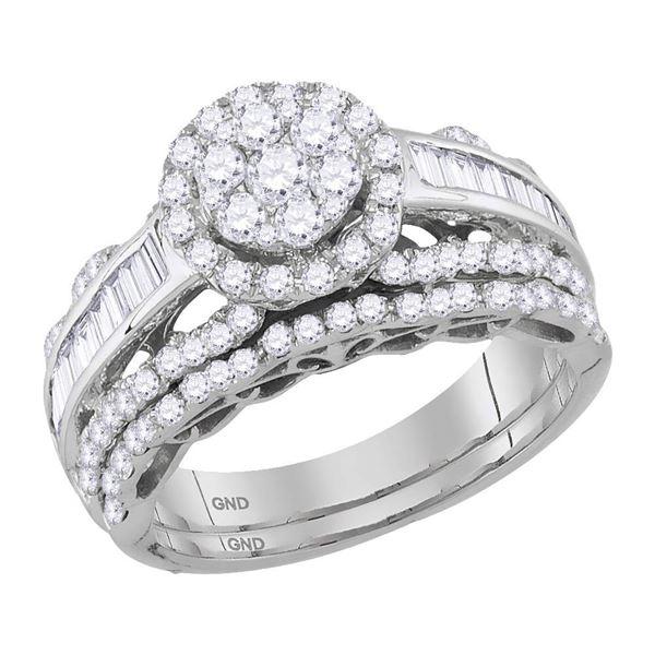 Diamond Cluster Bridal Wedding Ring Band Set 1-1/2 Cttw 14KT White Gold