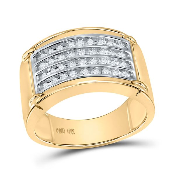 Round Diamond Four Row Band Ring 1/2 Cttw 10KT Yellow Gold