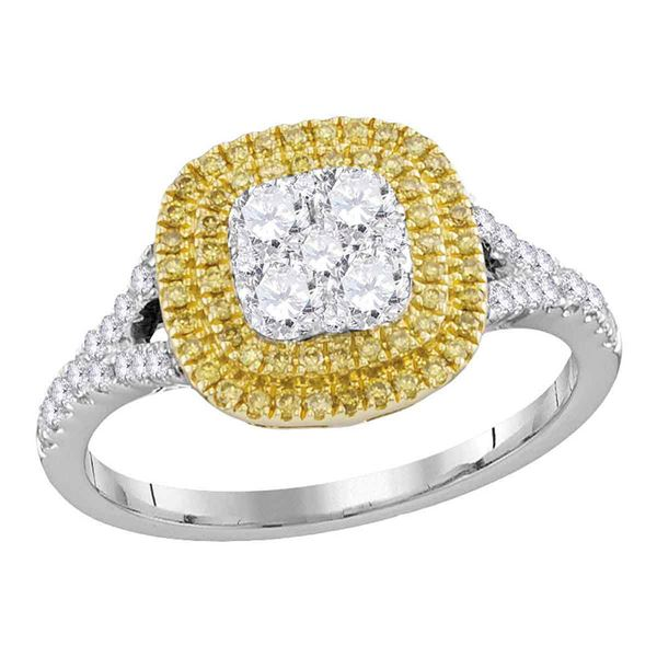 Round Yellow Diamond Cluster Ring 3/4 Cttw 18KT White Gold