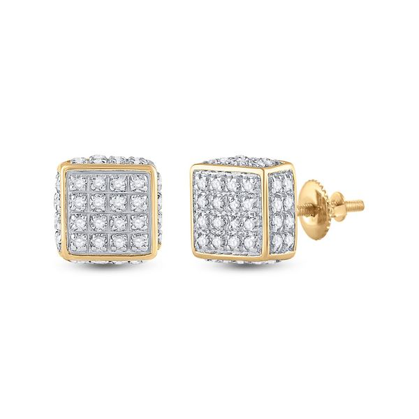 Round Diamond 3D Square Stud Earrings 1/4 Cttw 10KT Yellow Gold