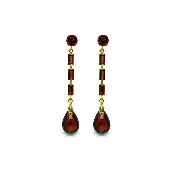 Genuine 8.6 ctw Garnet Earrings 14KT Yellow Gold - REF-43K3V