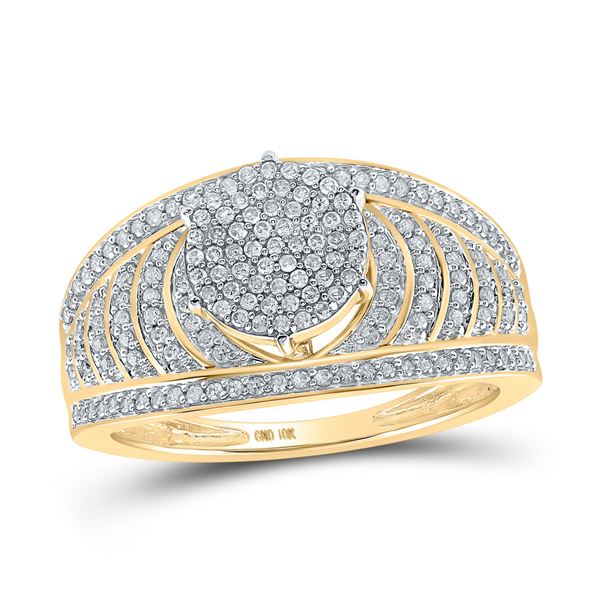 Diamond Cluster Striped Bridal Wedding Engagement Ring 1/2 Cttw 10KT Yellow Gold