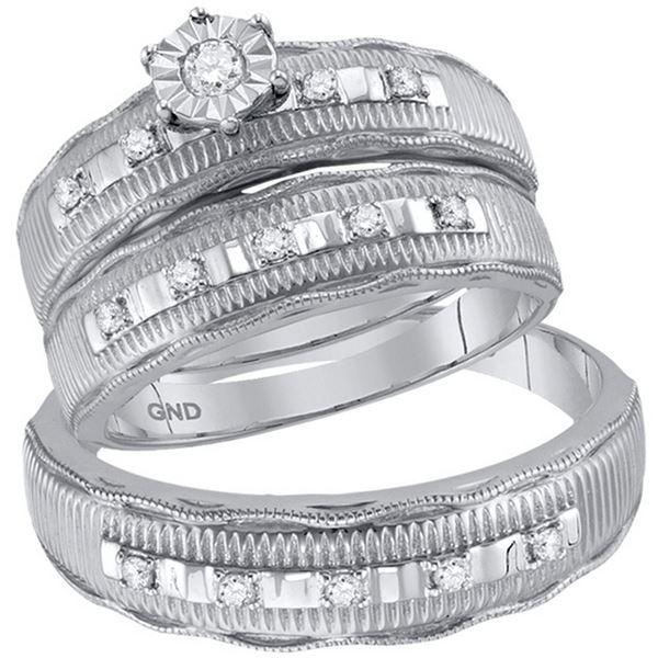 Diamond Solitaire Matching Wedding Set 1/4 Cttw 10KT White Gold