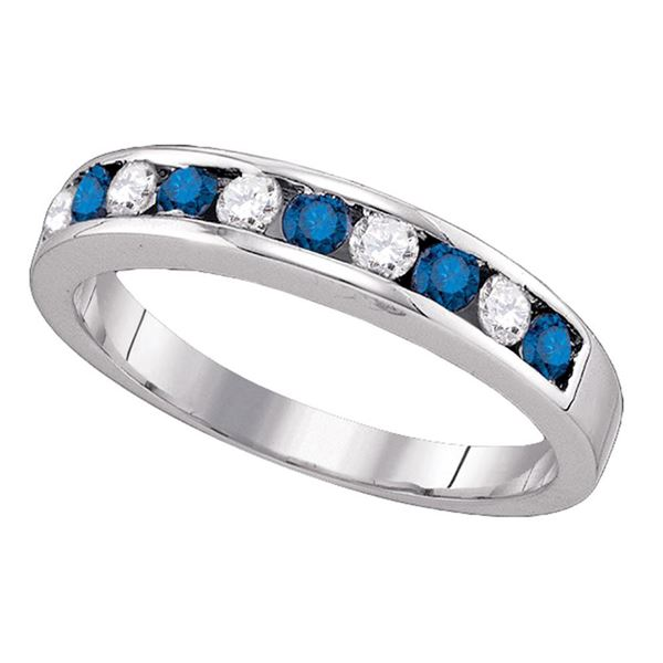 Round Blue Color Enhanced Diamond Band Ring 1/4 Cttw 10KT White Gold