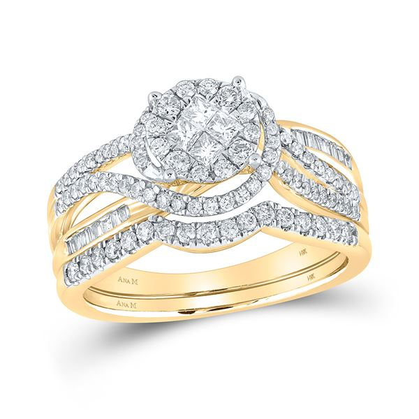 Bridal Wedding Ring Band Set 3/4 Cttw 14KT Yellow Gold