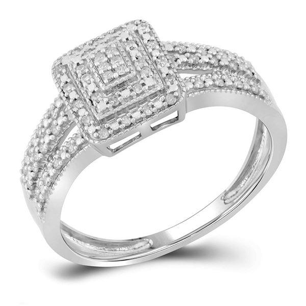 Diamond Square Cluster Bridal Wedding Engagement Ring 1/6 Cttw 10KT White Gold