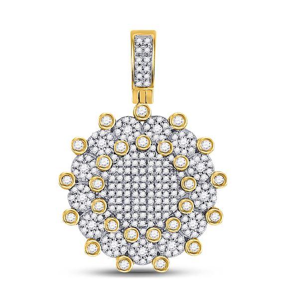 Round Diamond Circle Charm Pendant 1 Cttw 10KT Yellow Gold