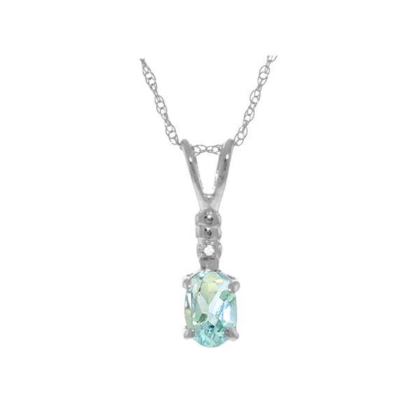 Genuine 0.46 ctw Aquamarine & Diamond Necklace 14KT White Gold - REF-22T7A