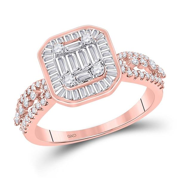 Baguette Diamond Square Cluster Ring 7/8 Cttw 14KT Rose Gold