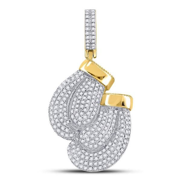 Round Diamond Boxing Gloves Sports Charm Pendant 1-3/4 Cttw 10KT Yellow Gold