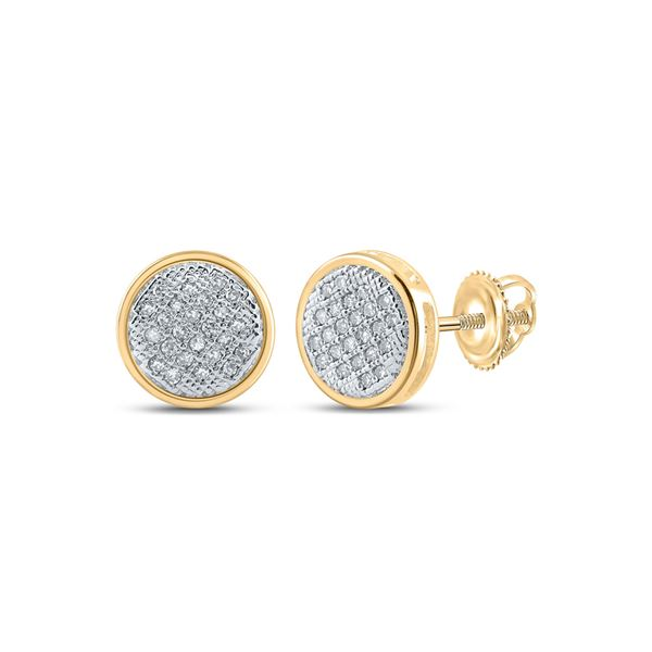 Round Diamond Circle Earrings 1/6 Cttw 14KT Yellow Gold