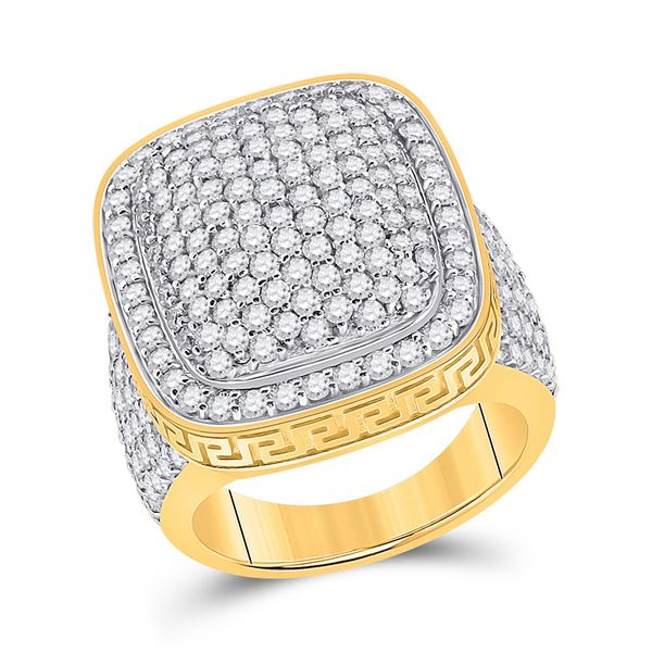 Round Diamond Pillow Cluster Ring 5 Cttw 14KT Yellow Gold