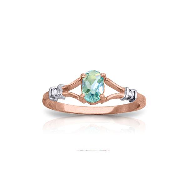Genuine 0.46 ctw Blue Topaz & Diamond Ring 14KT Rose Gold - REF-27T2A
