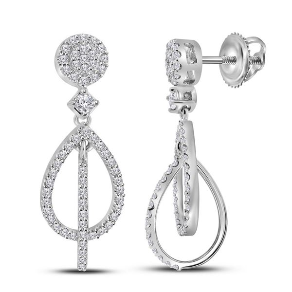 Round Diamond Double Teardrop Dangle Earrings 3/8 Cttw 10KT White Gold