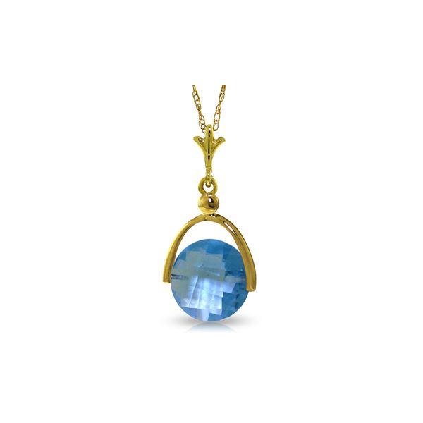 Genuine 3.25 ctw Blue Topaz Necklace 14KT Yellow Gold - REF-22Z3N