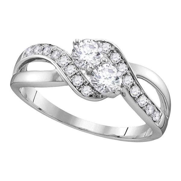 Diamond 2-stone Bridal Wedding Engagement Ring 5/8 Cttw 10KT White Gold