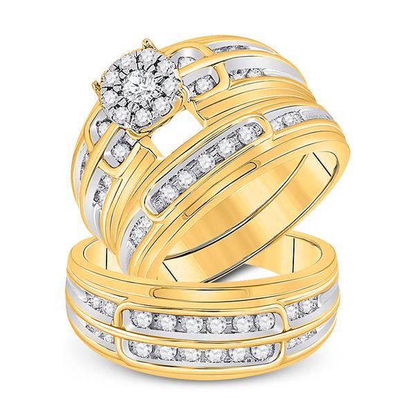 Diamond Halo Matching Wedding Set 7/8 Cttw 10KT Yellow Gold