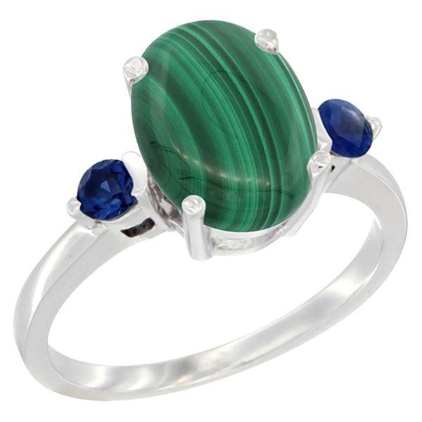 2.99 CTW Malachite & Blue Sapphire Ring 10K White Gold - REF-22V4R