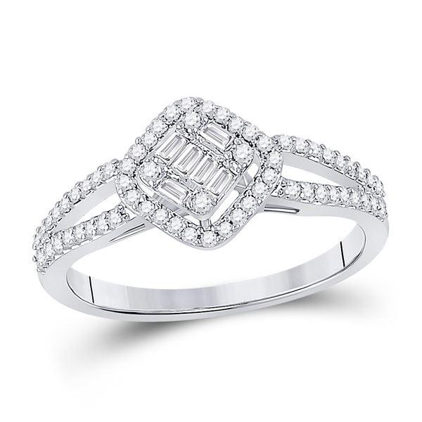 Baguette Diamond Offset Square Cluster Ring 3/8 Cttw 14KT White Gold