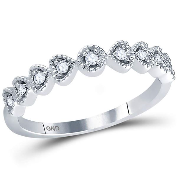 Round Diamond Heart Stackable Band Ring 1/10 Cttw 14KT White Gold