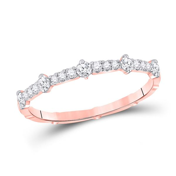 Round Diamond 5-Stone Stackable Band Ring 1/4 Cttw 10KT Rose Gold